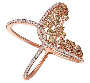 14K Rose Gold Multi Colored Diamond Fashion Ring