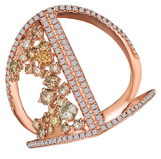 14K Rose Gold Multi Colored Diamond Ring