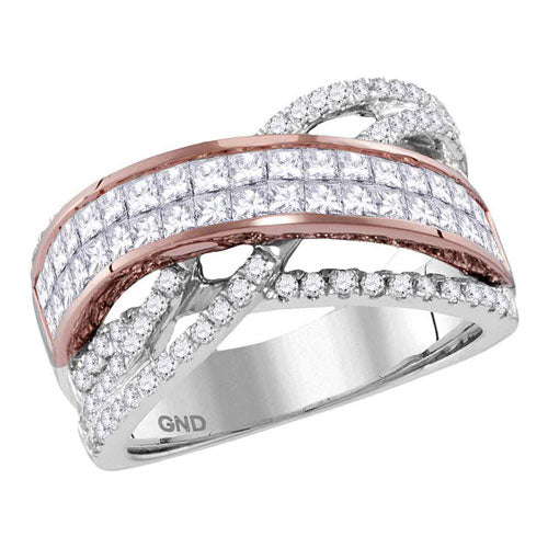 14kt Two-tone Gold Womens Princess Diamond Band Ring 2.00 Cttw - Crestwood Jewelers