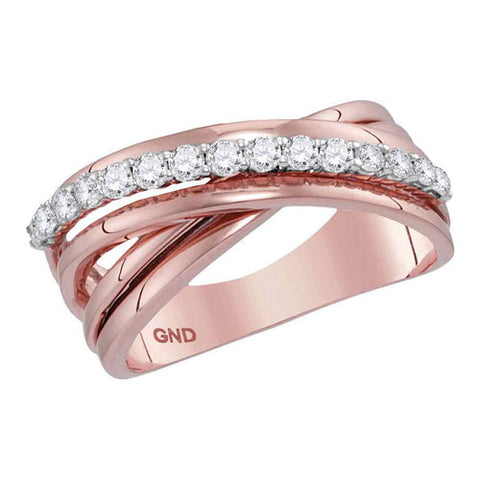 14k Rose Gold Round Diamond Crossover Band Ring 3/8 Cttw - Crestwood Jewelers