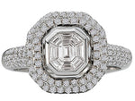 18K White Gold Pave Diamond Halo Engagement Ring - Crestwood Jewelers