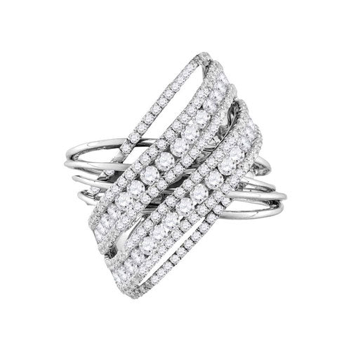 14kt White Gold Womens Round Diamond Crossover Open Strand Cocktail Ring 2-1/2 Cttw - Crestwood Jewelers