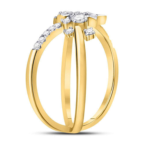 14K Yellow Gold 3/8 CTTW Diamond Star Ring - Crestwood Jewelers