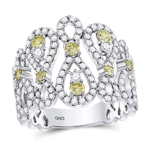 1 1/2CTW WHITE & YELLOW DIAMOND RING