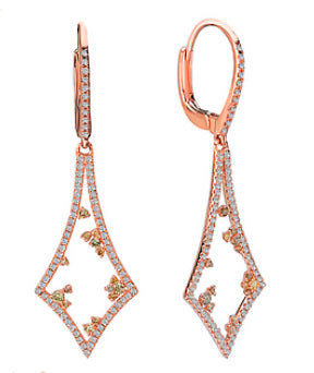 Tesoro Multi Colored Diamond Rose Gold Earrings - Crestwood Jewelers