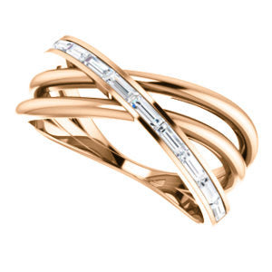 14K 1/3 CTW Baguette Diamond Criss-Cross Ring - Crestwood Jewelers