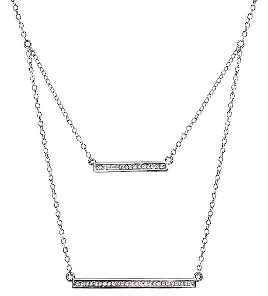Tesoro 14K White Gold Layered Bar Necklace - Crestwood Jewelers