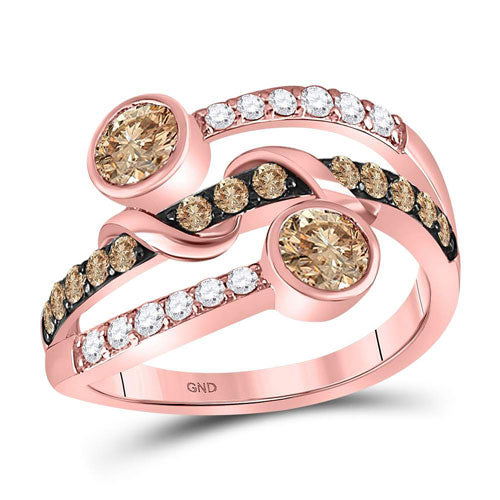 Rose Gold Chocolate & White Diamond Ring