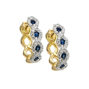 14K Yellow Gold Sapphire & Diamond Huggie Hoops