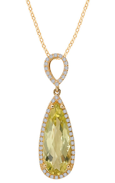 Lemon Quartz & Diamond Necklace - Crestwood Jewelers