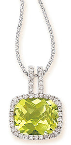 Tesoro 14K White Gold Lemon Quartz Necklace - Crestwood Jewelers