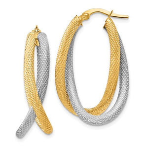 14K Two-Tone Textured Hoop Earrings - Crestwood Jewelers