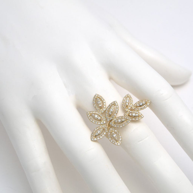 14K Yellow Gold Diamond Petals Ring