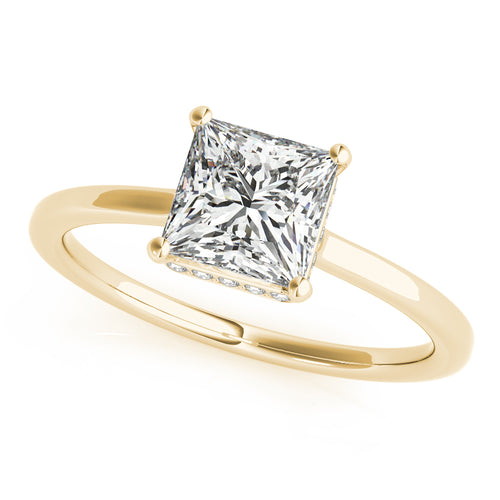 Princess Cut Halo Modern Engagement Ring Semi Mount