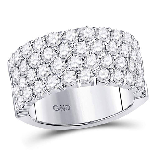 14kt White Gold Round Diamond 4 Row Pave Wedding Band 3.00 Cttw - Crestwood Jewelers