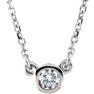 14K Diamond Solitaire Necklace - Crestwood Jewelers