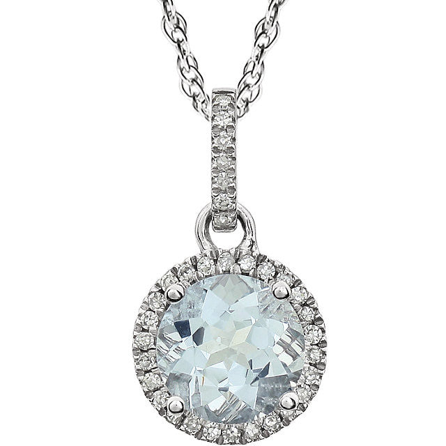 Aquamarine & Diamond Halo Necklace - Crestwood Jewelers