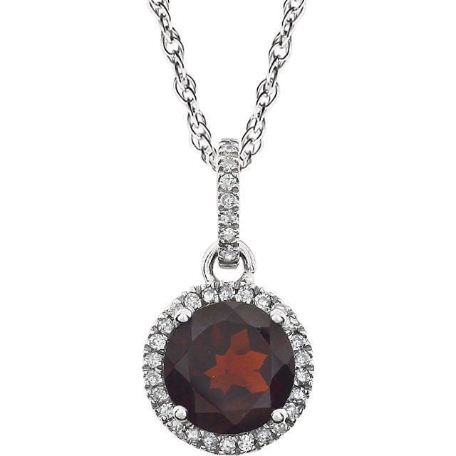 Garnet and Diamond Halo 14K White Gold Necklace