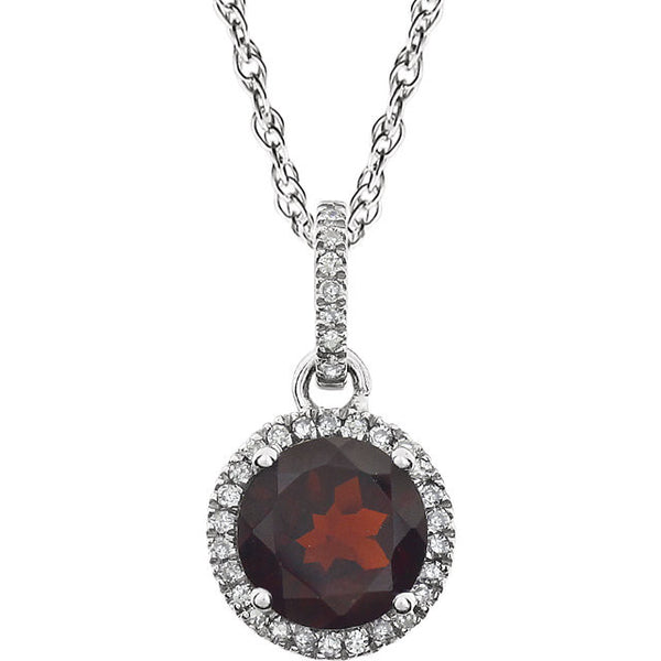 Garnet and Diamond Halo 14K White Gold Necklace - Crestwood Jewelers
