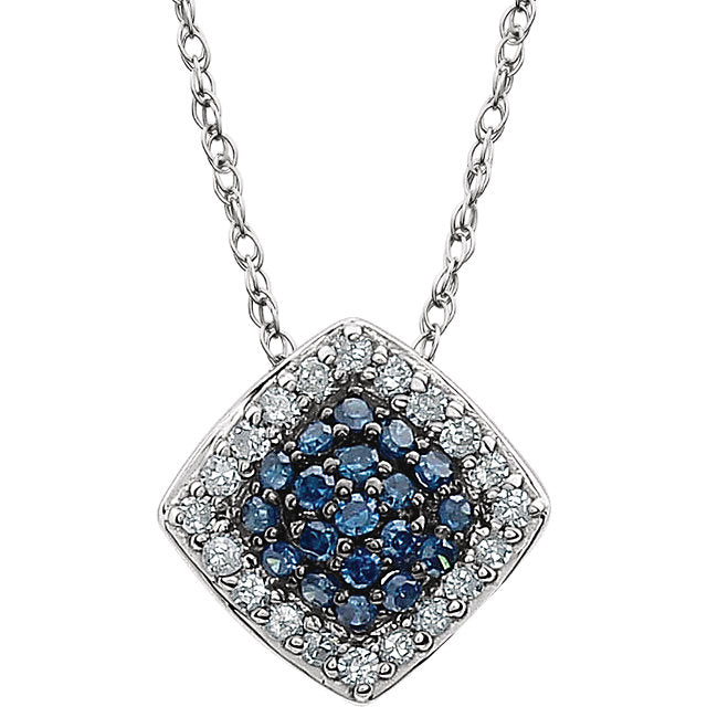 "14K White 1/6 CTW Blue & White Diamond Cluster 18"" Necklace - Crestwood Jewelers"