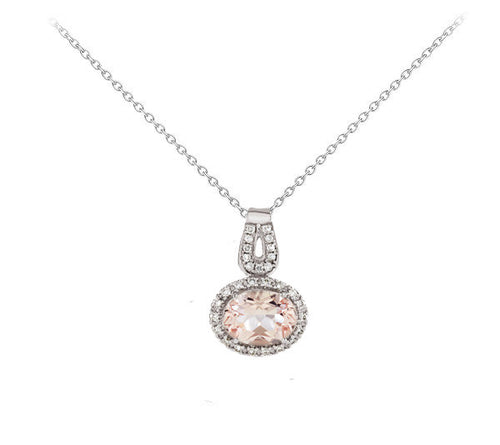 Morganite and Diamond Oval Halo Necklace - Crestwood Jewelers