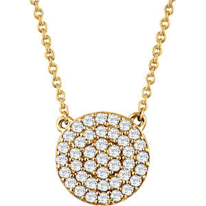 Pave Diamond Disc Necklace - Crestwood Jewelers