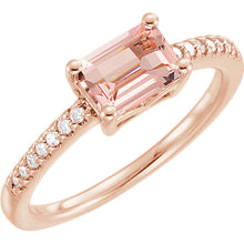 14K Rose Morganite & 1/10 CTW Diamond Ring