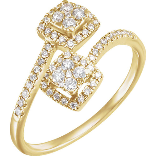 Diamond Double Square Bypass Cluster Ring