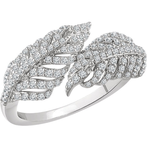 14K White 1/2 CTW Diamond Leaf Ring