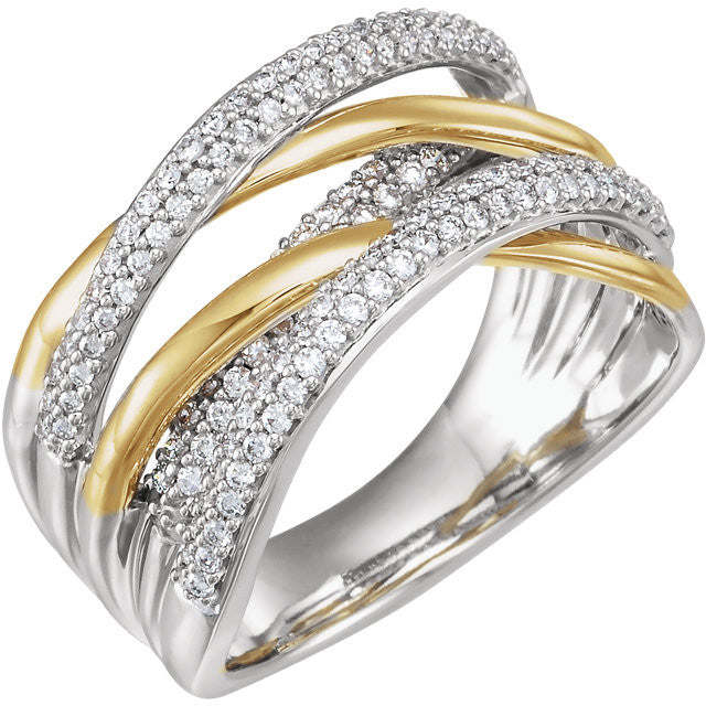 14K 1/2 CTW Diamond Criss Cross Ring - Crestwood Jewelers