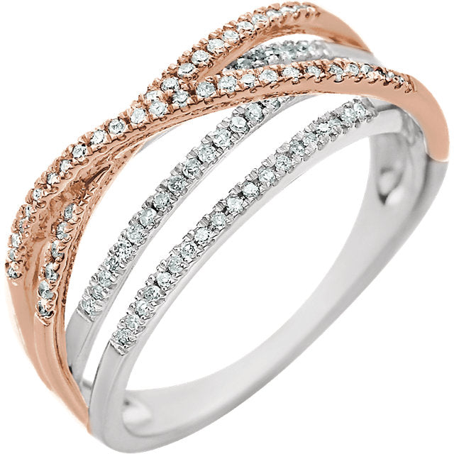 14K White & Rose 1/4 CTW Diamond Criss-Cross Ring