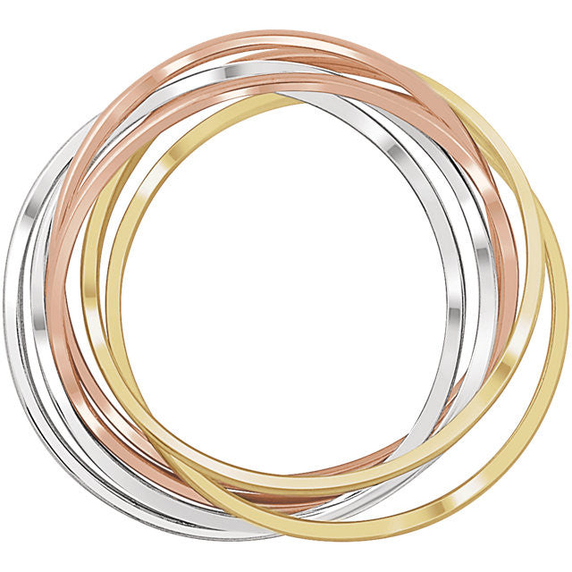 14K White, Yellow, & Rose 6-Band Rolling Ring - Crestwood Jewelers