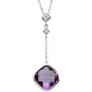 Amethyst and Diamond Checkboard Cut Necklace