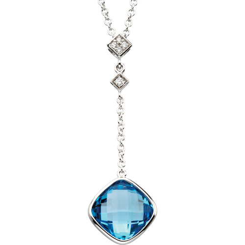 Blue Topaz and Diamond Necklace - Crestwood Jewelers