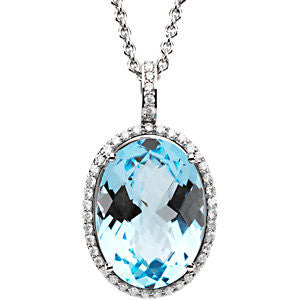 Blue Topaz and Diamond Oval Checkerboard Halo Necklace