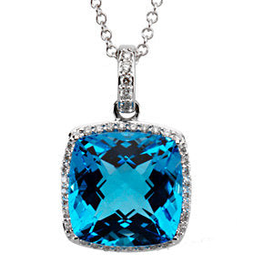 14K White Swiss Blue Topaz & 1/4 CTW Diamond Necklace - Crestwood Jewelers