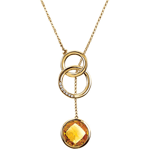 14K Yellow Checkerboard Citrine & .05 CTW Diamond Necklace - Crestwood Jewelers