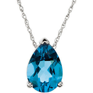 Blue Topaz Pear Shape Solitaire Necklace - Crestwood Jewelers