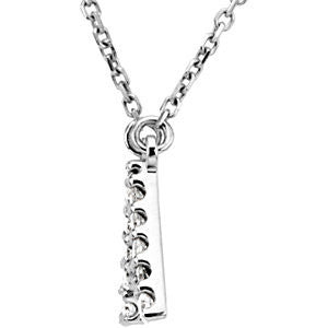 "14K White Gold Initial 1/6 CTW Diamond 16"" Necklace - Crestwood Jewelers"
