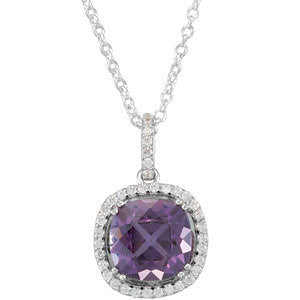 Amethyst and Diamond Checkberboard Cut Halo Necklace