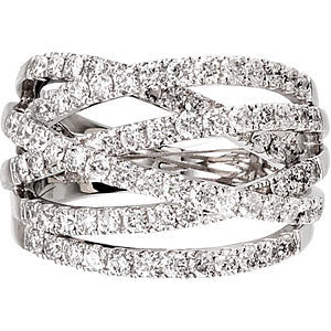 14K White 1 1/2 CTW Diamond Criss-Cross Ring