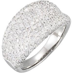 14K White 1 1/5 CTW Diamond Pavé Ring - Crestwood Jewelers