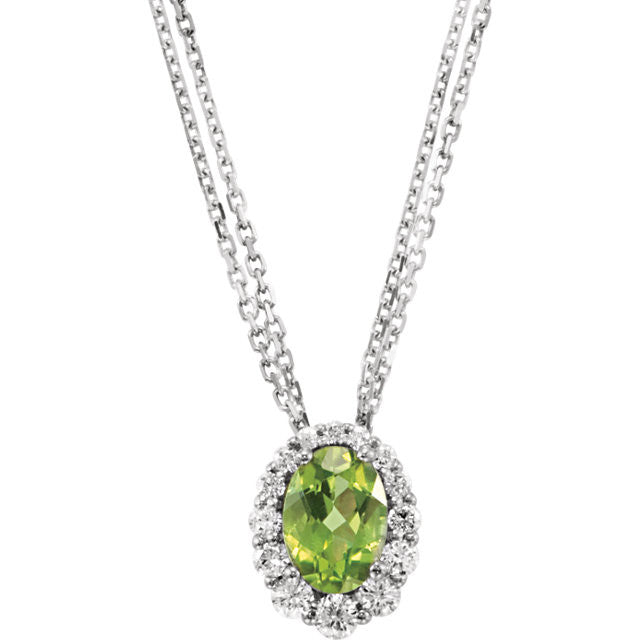 "Genuine Peridot & Diamond 18"" Necklace - Crestwood Jewelers"