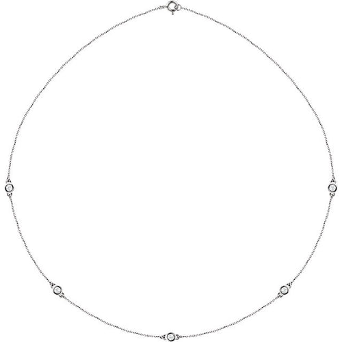 "14K 1/4CTW Diamond Bezel 18"" Necklace - Crestwood Jewelers"