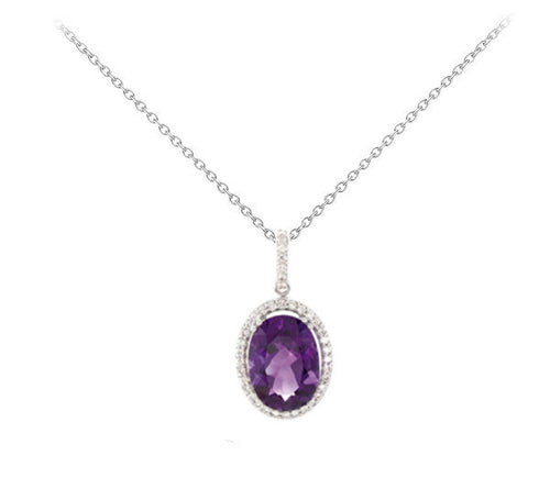 Amethyst and 1/2CT Diamond Oval Halo Necklace