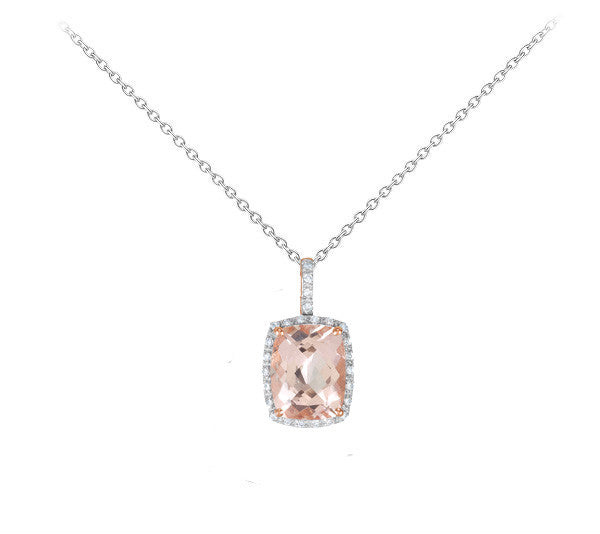 Morganite and Diamond Two Tone Halo Necklace - Crestwood Jewelers