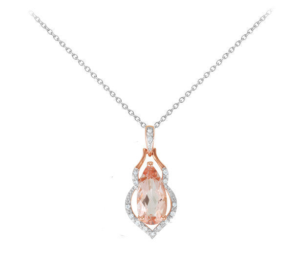 Morganite and Diamond Necklace - Crestwood Jewelers