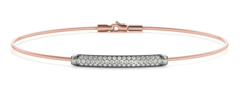 14K Italian Pave Diamond Bangle Bracelet