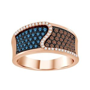 Blue, Chocolate and White Diamond Pave Ring