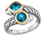 Tesoro Sterling Silver 18K Blue Topaz Bypass Ring - Crestwood Jewelers